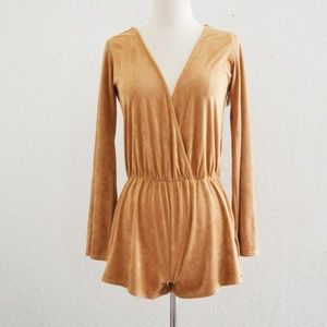 Tan Faux Suede Romper Long Sleeve Size M